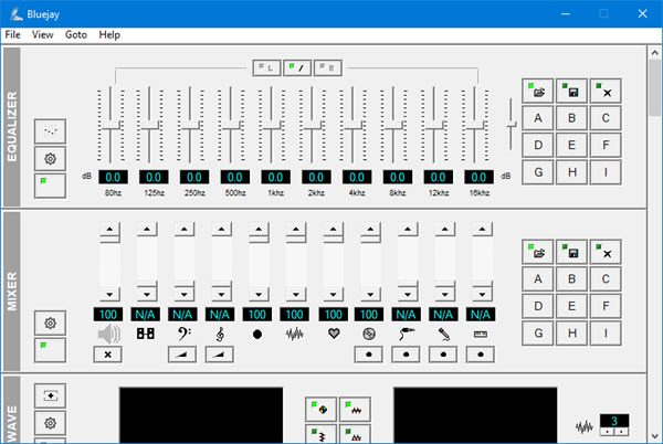 BlueJay audio playing, editing & recording software