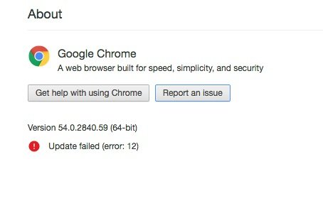 Chrome update problems and failed updates