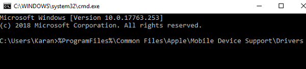 Command to open Drivers folder