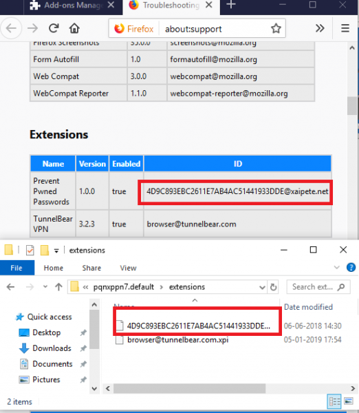 Delete Firefox Extension Manually