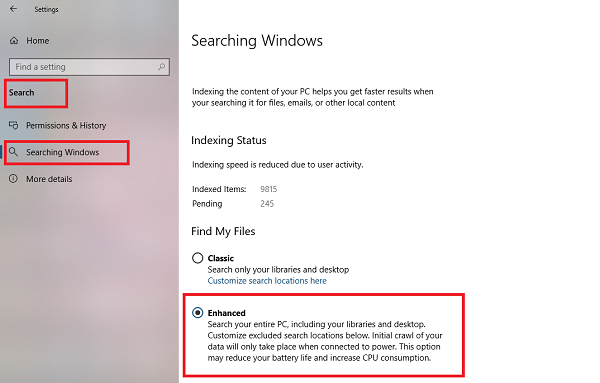 Enable Enhanced Search Mode in Windows 10