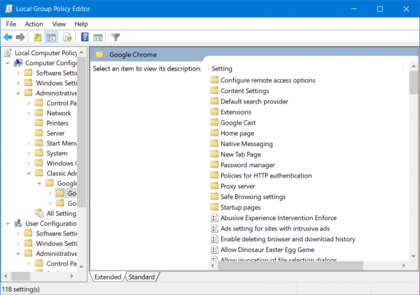 Configure Google Chrome using Group Policy