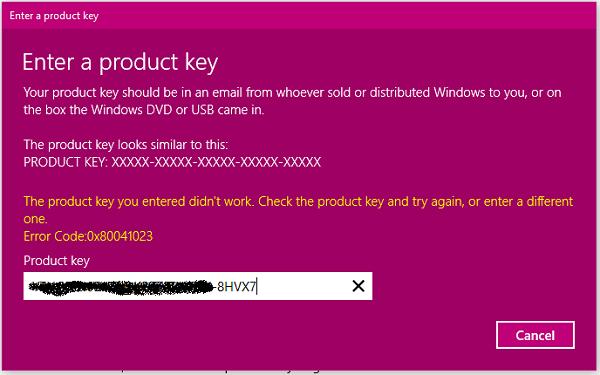 Windows Activation Error Code0x80041023