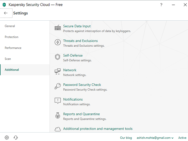 Kaspersky Security Cloud Additional Features