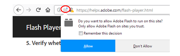 Firefox Flash Enable Prompt