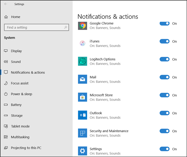 Outlook 2016 notifications not working on Windows 10