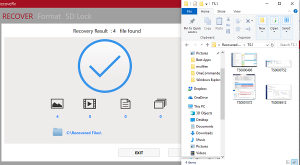 RecoverRx Recovered Files
