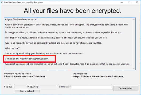Stampado Ransomware Unlock Screen