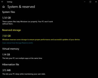 Storage Reserve in Windows 10