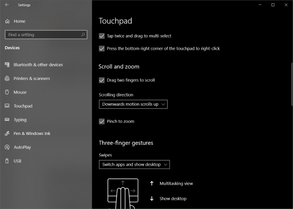 Reverse scrolling direction of a Touchpad mouse