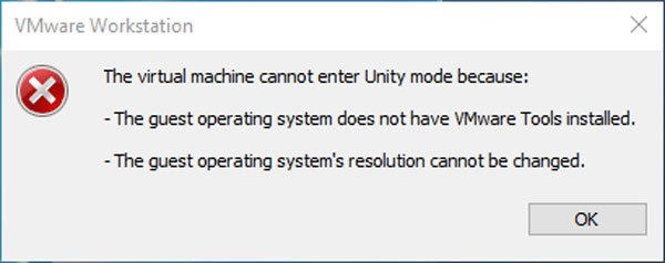 VMware Workstation fails to enter Unity mode