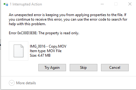 Error 0xC00D3E8E: The property is read only