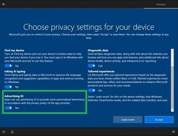 Turn off Advertising ID to disable Targeted Ads in Windows 10