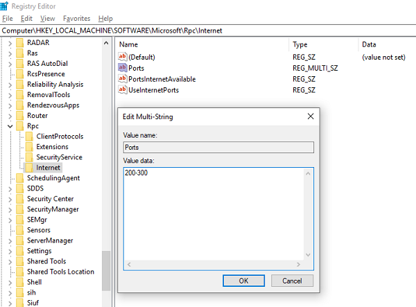 configure RPC dynamic port