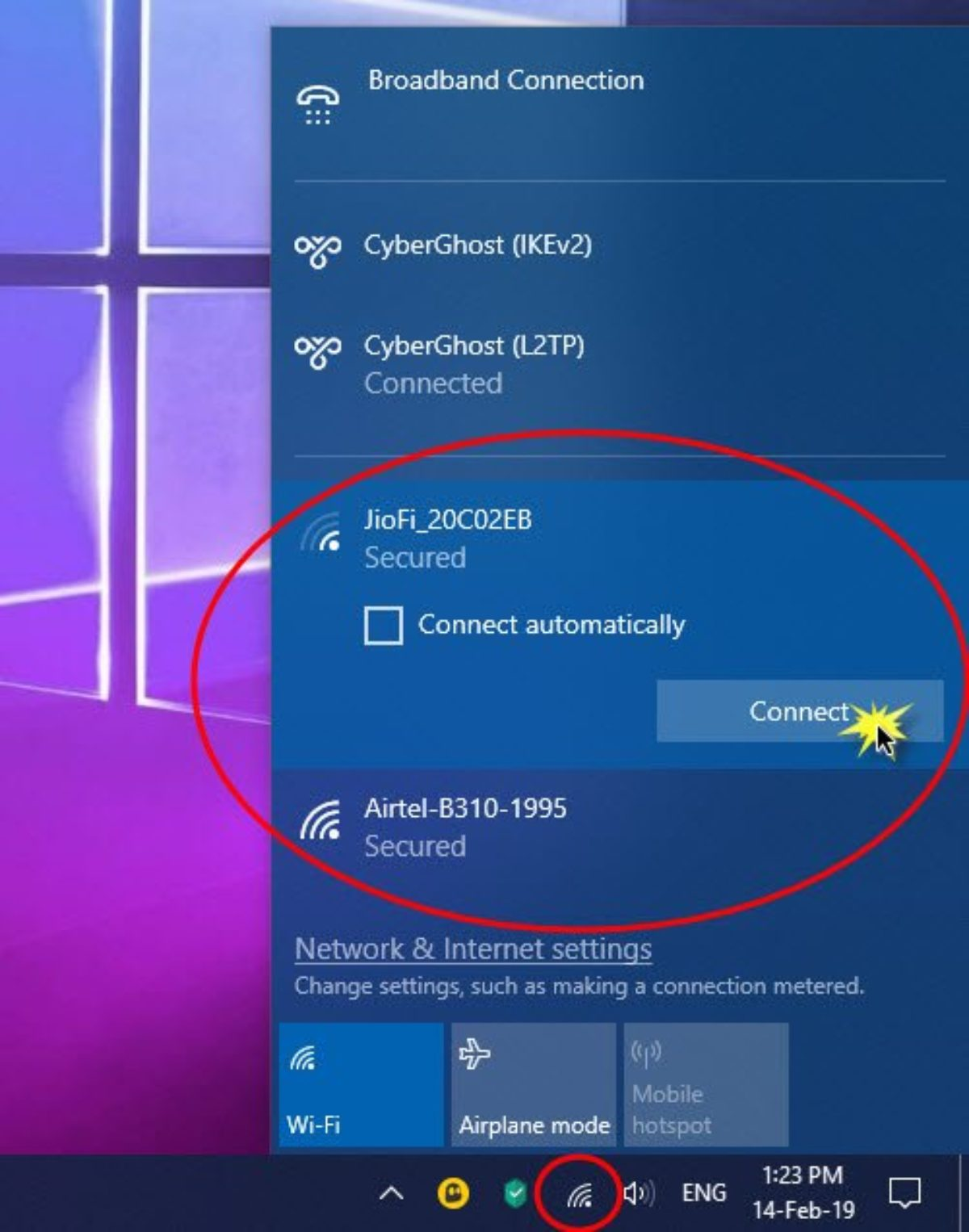 How to set up an Internet connection on Windows 10