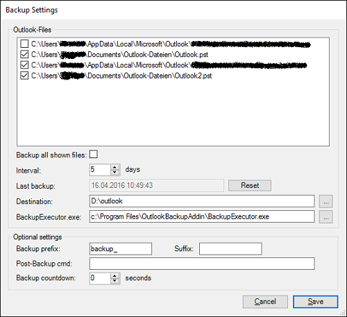 automatically backup Microsoft Outlook PST Data File