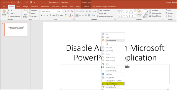 Disable Autofit automatic text resizing in PowerPoint