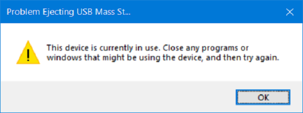 USB error: This device is currently in use
