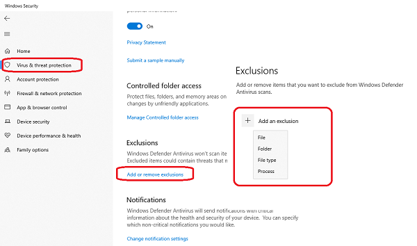 Exclude a folder from Windows Defender Security scan