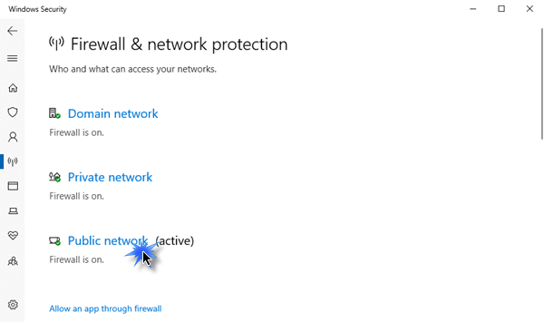enable or disable Windows Defender Firewall 1