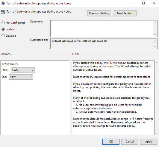Group Policy Active Hours