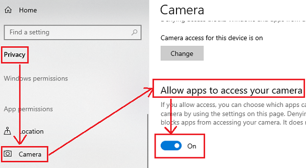 Allow apps to access the camera