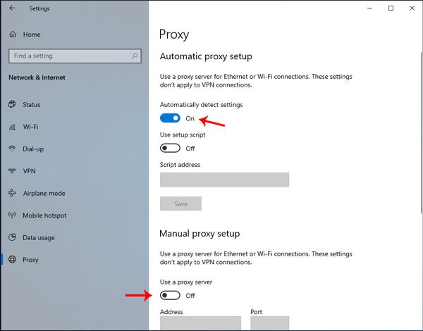 Can't connect to the proxy server says Microsoft Edge on Windows 10