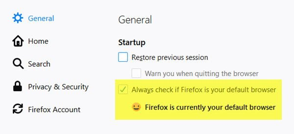 Can't set Firefox as the default browser