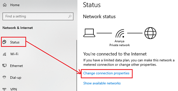 Change connection properties