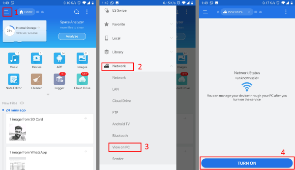 Transfer data between Android & Windows PC