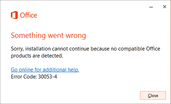 Error code 30053-4 or 30053-39 when installing a language pack in Office
