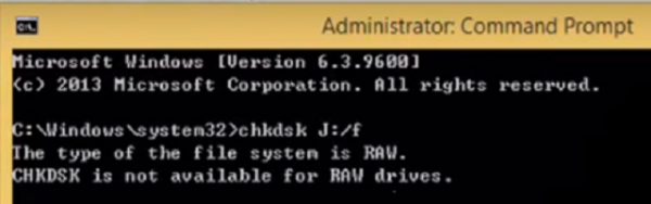 CHKDSK is not available for RAW drives