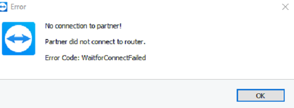 Partner Did not Connect to Router in TeamViewer
