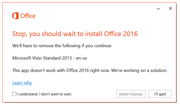 Install Office 2016 Error