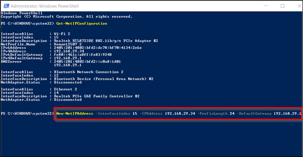 Assign a static IP address in Windows 10