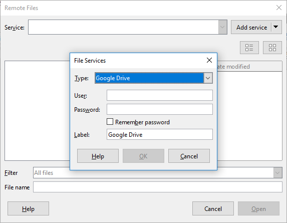 save files from LibreOffice directly to Google Drive