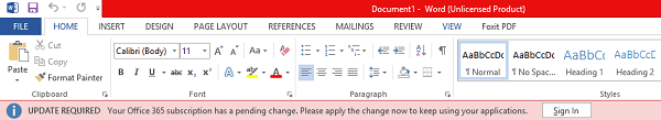 """Account Notice"" appears in Office after switching Office 365 plans"