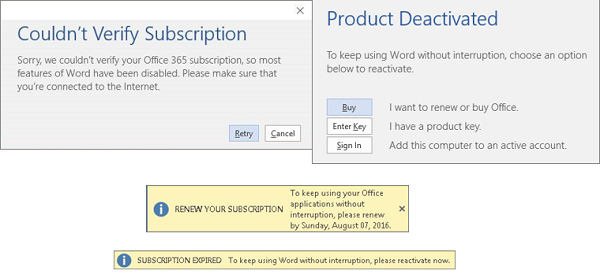 A subscription notice appears when I open an Office 365 application