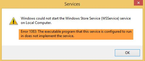 The executable program that this service is configured to run in does not implement the service