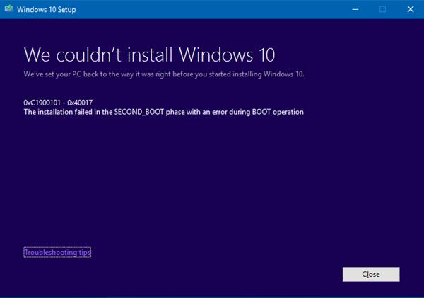 Windows 10 Upgrade error codes