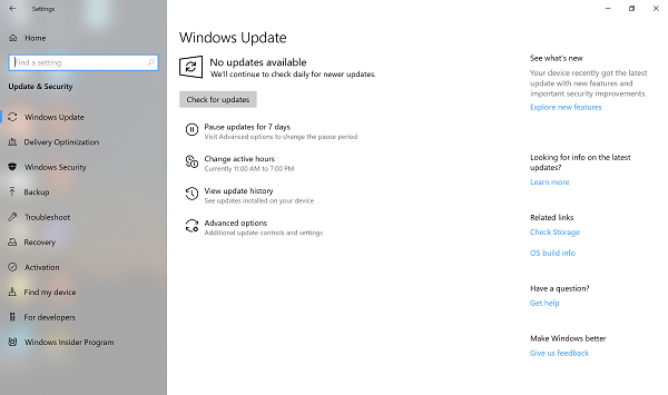 Windows 10 Update Pause for 7 days