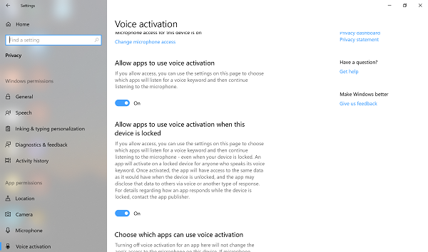 Voice Activation Settings in Windows 10