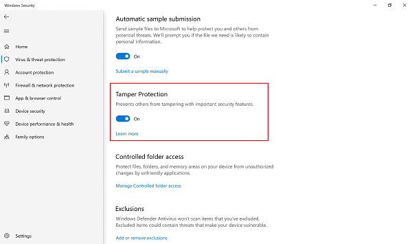 Tamper Protection for Windows 10