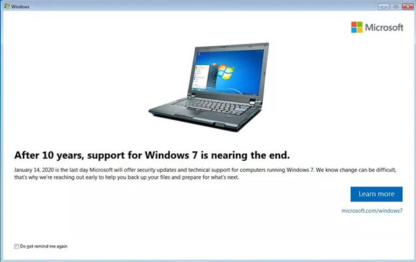 Windows 7 End of Support Notifications