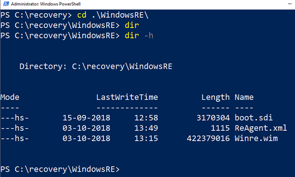 View files inside Windows Recovery folder