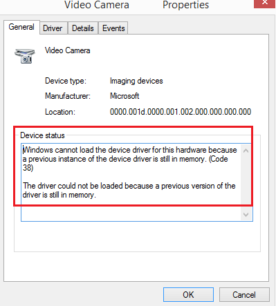 Windows cannot Load the Device Driver for this Hardware because a Previous Instance of the Device Driver is still in Memory (Code 38)