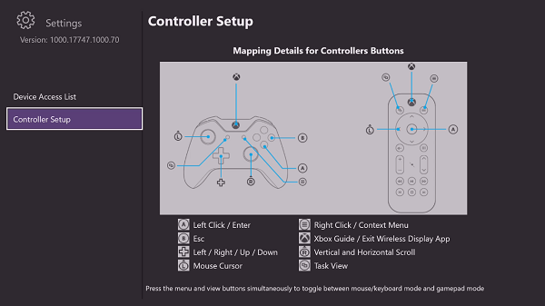 Input mapping of keyboard or mouse on Xbox One Controller