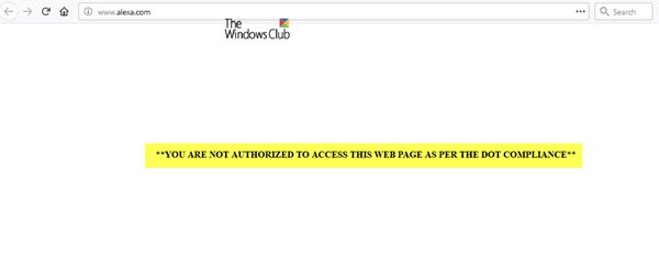 YOU ARE NOT AUTHORIZED TO ACCESS THIS WEB PAGE AS PER THE DOT COMPLIANCE
