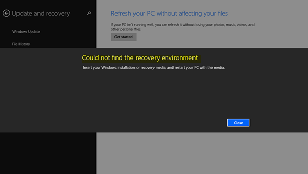 Could not find the Recovery Environment
