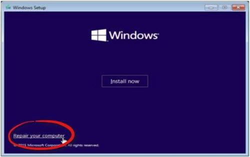 repair your computer windows setup
